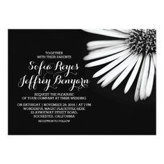 Black and white flower wedding invitations