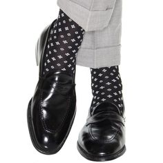 Dapper Classics Black with White and Ash Neats Cotton Sock Linked Toe