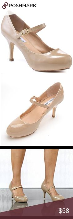 """Steve Madden Premieer Nude Patent Mary Jane Pumps NEW Without Box A fabulous mix of whimsy and class! Nude heels go with everything. They'll make you legs look longer and leaner too. Perfect for a pageant or everyday wear.   Shoe Condition: The shoes are New never worn, the Soles have signs of being tried on in the store and store's small ink marks on sole.   Shoe Details: Size – US 11 M - Fits true to size. ¾"""" Platform, 3"""" Stiletto Covered Heel. Mary Jane Strap, Golden Buckle. Leather…"""