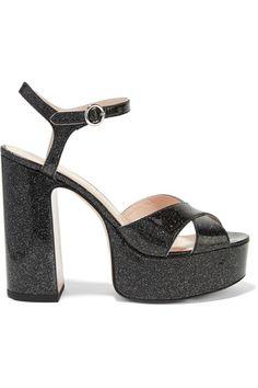 Marc Jacobs - Lust Glittered Leather Platform Sandals - Black - IT40.5