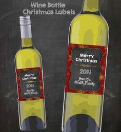 Wine Bottle Labels Christmas Digital Download by CuteLittleSigns