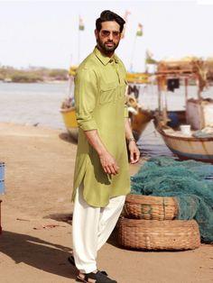 Olive Plain Cotton Festive Wear Pathani Suit, Latest designer pathani suit for men, Designer pathani suit for men, Latest Designer men Pathani suits for festive, Latest designer men Pathani suit for eid, latest designer pathani suit 2019, shop online men pathani suit