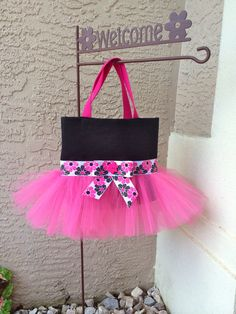 Hot Pink and Black Tutu Tote Bag with Floral Ribbon and Bow - Tutu Bag - Dance Bag - Ballet Bag on Etsy, $28.00