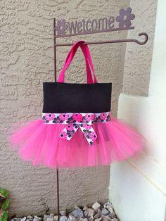 Hot Pink and Black Tutu Tote Bag with Floral Ribbon and Bow - Tutu Bag - Dance Bag - Ballet Bag on Etsy, $28.00