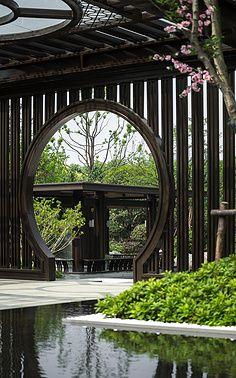 拼命小姑娘采集到庭院 Japanese Garden Landscape, Chinese Landscape, Contemporary Landscape, Garden Entrance, Garden Gazebo, Lanscape Design, Chinese Courtyard, China Garden, Moon Gate