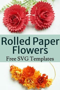Cricut Paper flower free SVG and printable templates Christmas Centrepieces, Rolled Paper Flowers, Printable Templates, Flower Template, 3d Paper, Silhouette Projects, Geometric Art, Flower Crafts, Card Stock