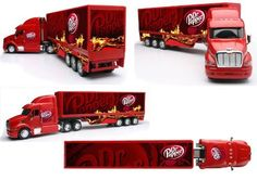 """Peterbilt 387 Dr. Pepper Truck by New Ray. $36.59. Dr. Pepper. Toy diecast cab truck. 1:32 Scale. New Ray. Dr. Pepper Toy Truck. Dr. Pepper Toy Truck features diecast cab, movable wheels, openable doors. Made by New Ray. 1:32 Scale. Approximate measurements are 22""""L x 5""""H x 4""""W. Peterbilt 387, Play Vehicles, Dr Pepper, Toy Trucks, Games To Play, Diecast, Remote, Scale, Wheels"""