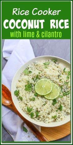 Rice Cooker Coconut Rice With Lime & Cilantro – A Fork's Tale The sweetness coconut milk combined with bright flavors of zesty lime and cilantro transforms plain rice into delicious with this recipe. Rice Cooker Coconut Rice, Coconut Milk Rice, Coconut Milk Recipes, Coconut Lime Rice Recipe, Cocunut Rice, Rice Cooker Recipes, Rice Recipes, Vegetarian Recipes, Potato Recipes