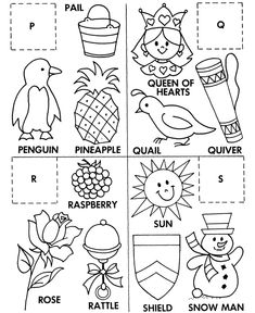 P-Q-R-S ABC Matching worksheet - two pages, one has the objects to color, one has the letters to cut & paste on.