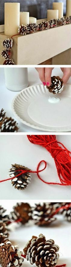 Christmas decoration - elegant deco ideas with cones- Weihnachtsdekoration – elegante Dekoideen mit Zapfen christmas decoration homemade thongs garland - Noel Christmas, Outdoor Christmas, Winter Christmas, Christmas Ornaments, Pine Cone Crafts, Xmas Crafts, Diy Crafts, Homemade Christmas Decorations, Xmas Decorations