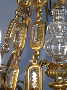 Large #French ormolu crystal #chandelier with pear drops and cabouchon crystal chains, 110cm high x 93 cm diameter, 75kg. **Available to hire** (Stock code;- LIGC10045)    www.farley.co.uk Prop Hire, Pear Drops, Clever Design, Antique Furniture, Chandeliers, Chains, Ceiling Lights, French, Crystals