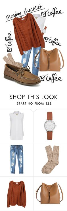 """""""Cheese in the Trap"""" by midas-t0uch ❤ liked on Polyvore featuring Current/Elliott, Skagen, Chicnova Fashion, Brooks Brothers, Lodis and Sperry"""