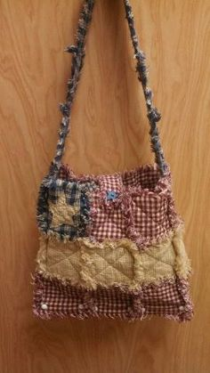 Americana Flag  Wooden Bottom Rag Quilt Purse- Large ((ONLY ONE)) Ready To Ship!