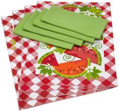 Amazon.com - DII Juicy Watermelon Linen Set, 4 Printed Check Placemats and 4 Lime Zest Napkins - Kitchen Linen Sets #AmazonCart #DII #DesignImports