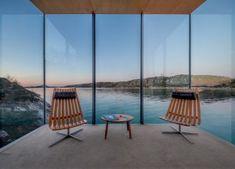Innenansicht einer der Glasquader des Manshausen Resorts