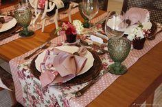 Mesa posta rústica e romântica