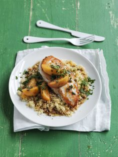 Chicken with Peaches and Ginger - I like that this uses ingredients you prob already have at home...