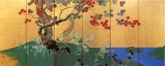 Suzuki Kiitsu「四季花木図屏風」 鈴木其一 六曲一双 左隻