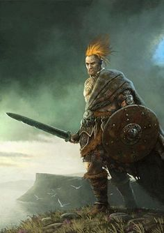 Celtic warrior with sword and shield. King Somhairle by ~JohnMcCambridge on deviantART