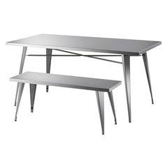 【楽天市場】【送料無料】Silver 105 ベンチ イス チェア 椅子 ダイニングテーブル シンプル ステンレス ベンチのみ おしゃれ:どんどんどんの家具