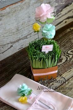 Isn't a basket (made with the Stampin' Up! Berry Basket Bigz Die) full of grass and flowers perfect for some spring decor? And the From the Garden Bundle is a must for this project! - Allison Okamitsu