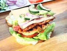 California Club Sandwich with Greek Chicken and Feta Mayonnaise