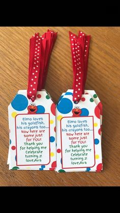 Listing is for 10 favor tags only with pictures ribbon. Please let us know your name for the favor tags. **We can customize anything- let. Elmo First Birthday, Second Birthday Ideas, Boy Birthday Parties, Sesame Street Party Supplies, Sesame Street Birthday Party Ideas, Sesame Street Birthday Invitations, Seasame Street Party, Sesame Street Cake, Elmo Party Favors
