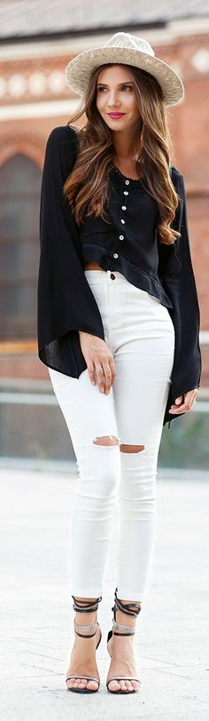 The Mysterious Girl Crop Top And High Waist Fall Inspo