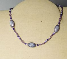 Purple macrame beaded choker necklace with purple and off white beads. Vintage 70s