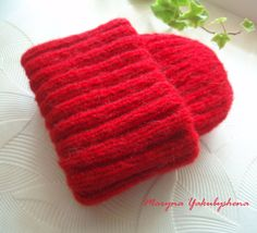 Red knit hat Hat mohair Knitted mohair cap by WorldBeautifulThings