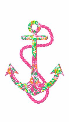 Anchor covered with pink green & orange color & a pink rope art