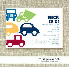 custom printed kids birthday party invitation set of 10 : cars and trucks. $20.00, via Etsy.