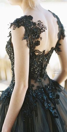 beautiful black wedding dress
