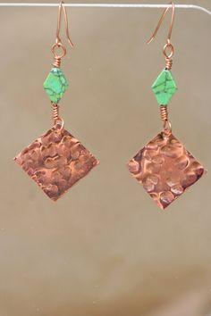 Hammered Copper Square Earrings with green by lesleypridgen, $20.00