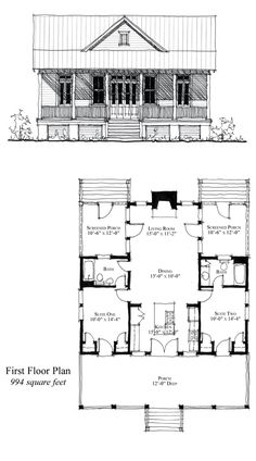 COOL House Plan ID: chp-49770 | Total living area: 994 sq ft, 2 bedrooms & 2 bathrooms. #houseplan #carolina