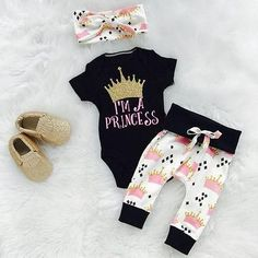 I'm a Princess Baby Girl Shirt and Pants with Headband Outfit