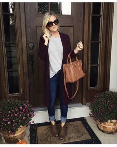 58 Most Beautiful Business Casual Fall Outfit for Women with Cardigans - Casual Fall Outfits, Fall Winter Outfits, Autumn Winter Fashion, Cute Outfits, Looks Style, Looks Cool, Sac Michael Kors, Mode Jeans, Mommy Style