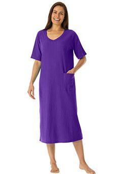aa652c9766799 Only Necessities Women s Plus Size Ribbed V-Neck Lounger at Amazon Women s  Clothing store