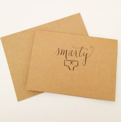 Smarty Pants Blank Hand-lettered Cards, Set of Six by Jenni20 Designs