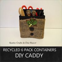 make handy storage caddies out of recycled six pack bottle containers