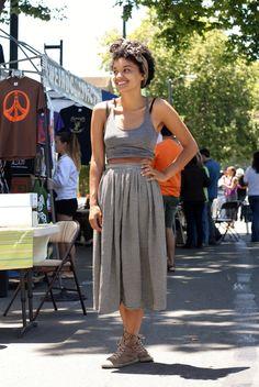 crop top + midi skirt + sneakers