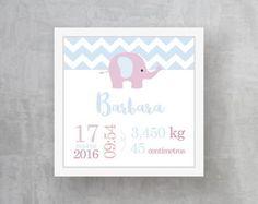 Quadro Informações do Bebê - Elefante