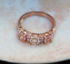 Peach sapphire anniversary ring by Eidelprecious.