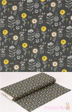 """grey cotton fabric with yellow and white florals, Material: 100% cotton, Fabric Type: smooth cotton fabric, Pattern Repeat: ca. 7cm (2.7""""), Fabric Width: 112cm (44"""") #Cotton #Flower #Leaf #Plants #USAFabrics"""