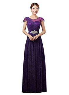 Drasawee Womens Short Sleeve Sequins Prom Bridal Dress Empire Maxi Evening Gowns Purple US12 -- Click image for more details.