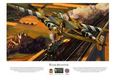 Dan Zoernig's Railbuster-France, July 1944. First Lt. Richard Loehnert of Long Beach, California completes a firing pass on a German BR 41 locomotive carrying war material to Wehrmacht forces in the Norman hedgerows. With a potent gun package housed in the nose of the central gondola, Loehnert's P-38J Lightning could severely punish any target with fire from its Hispano 20mm cannon and quartet of Browning .50 caliber machine guns.