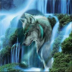 "Quality Full Square Diamond DIY Diamond Painting ""Waterfall Scenic Wolf "" Embroidery Cross Stitch Rhinestone Mosaic Painting Gift VIP with free worldwide shipping on AliExpress Mobile Wolf Painting, Diy Painting, Tier Wolf, Abstract Wolf, Wolf Spirit Animal, Fantasy Wolf, Mosaic Pictures, Wolf Wallpaper, Les Cascades"