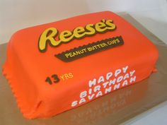 Birthday Cake Photos - Reeses Peanut Butter Cup fondant covered cake. Choc cake and PB Buttercream on the inside