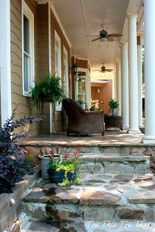southern style porch concrete masonry curb appeal outdoor living porches This is a new stone walk way that we recently completed that joins the side yard garden to the the front porch Outdoor Spaces, Outdoor Living, Outdoor Decor, Outdoor Ideas, Outdoor Crafts, Outdoor Stuff, Future House, My House, House Porch