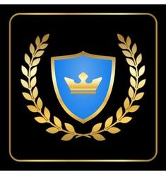 Gold and black shield with gold laurels 06 vector image on VectorStock Sign Design, Design Art, Laurel Wreath, Ikon, Vector Free, Banner, Symbols, Logos, Illustration